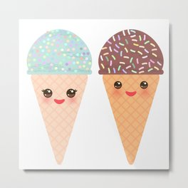 Ice cream waffle cone Kawaii funny muzzle with pink cheeks and winking eyes, pastel colors Metal Print