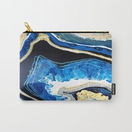Gold Blue Black White Geode Carry-All Pouch