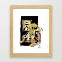 Cthulhu Taking Tea Framed Art Print