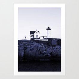 Navy Blue Maine Lighthouse Art Print