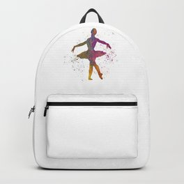 Ballet dancer woman 02 in watercolor Backpack