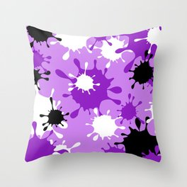 Paint Splatter-Purple+Black Throw Pillow