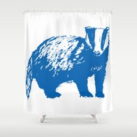 badger Shower Curtains featuring Blue Badger by Frances Roughton