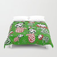 puppies Duvet Covers featuring Christmas Puppies & Kittens Stuffed into Mittens! by Amy Gale