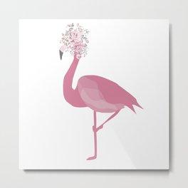 Flamingo Floral Head Spring Metal Print