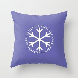 Blue Violet Snowflake Throw Pillow