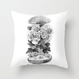 Flower Burger Throw Pillow