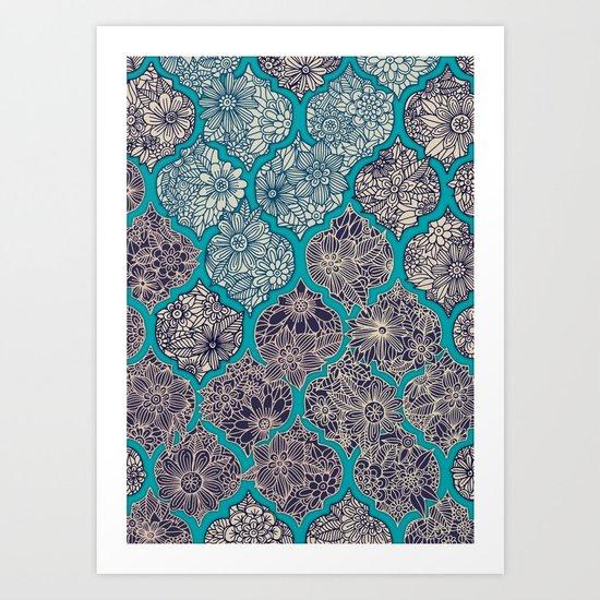 Moroccan Floral Lattice Arrangement - teal Art Print
