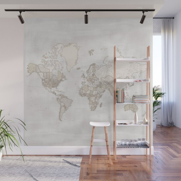 "Rustic and highly detailed world map with cities, square, ""Lucille"" Wall Mural"