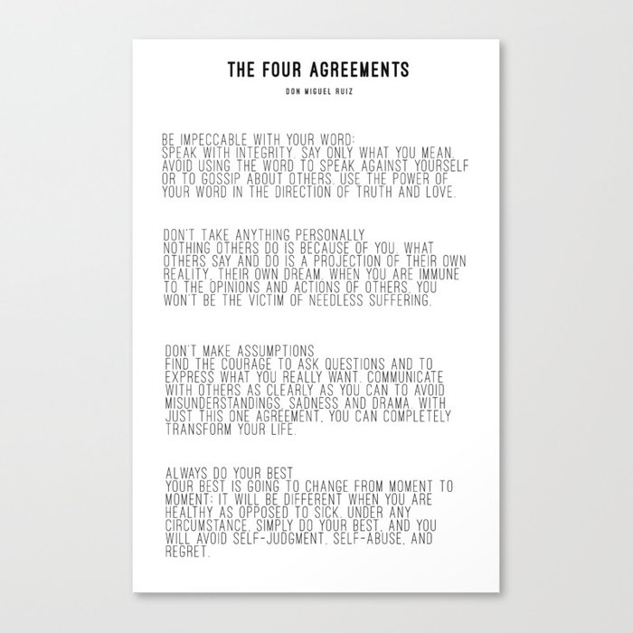 The Four Agreements Bw Minimalism Canvas Print By Andreaanderegg