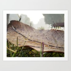 Dew drops on a fallen leaf Art Print