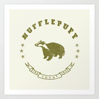 hufflepuff Art Prints featuring Hufflepuff House by Shelby Ticsay