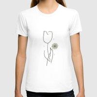 fringe T-shirts featuring Fringe - White Tulip & Dandelion by lisa92gene