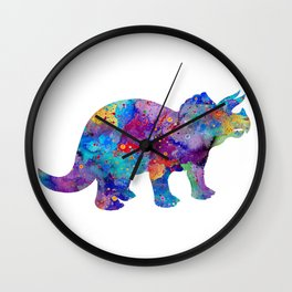 Dinosaur Triceratops Art Print Wild Animals Nursery Decor Kids Room Watercolor Pint Colorful Art Wall Clock