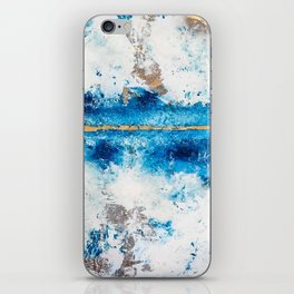 Blue Skies: a pretty, minimal abstract mixed-media piece in blue, white and gold iPhone Skin