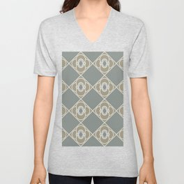 Moss and Mushroom Quatrefoil Diamond Pattern Unisex V-Neck