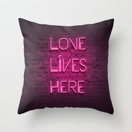 Love Lives Here (Magenta) Throw Pillow