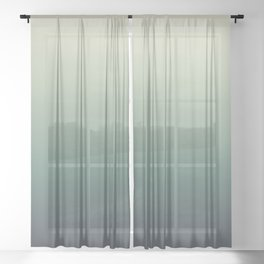 color gradient   blue ,green, grey - autumn colors Sheer Curtain
