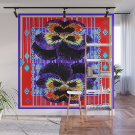 Red Western Style Double Purple & Gold Pansy Wall Mural