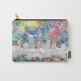 indianapolis city skyline watercolor Carry-All Pouch