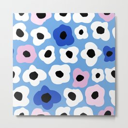 Pink Pop and Blue Contemporary Floral Pattern Metal Print