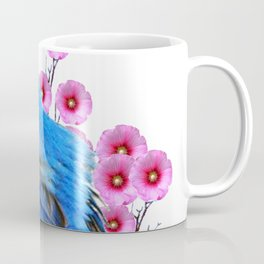 DECORATIVE BLUE BIRD & PINK HOLLYHOCKS VIGNETTE Coffee Mug