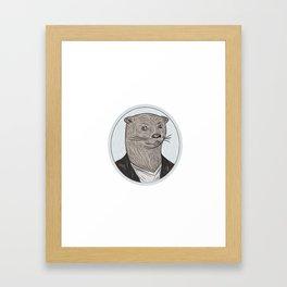 Otter Head Blazer Shirt Oval Drawing Framed Art Print