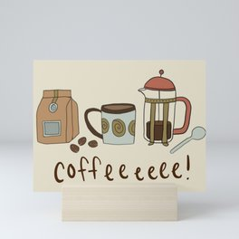 Coffee Love Patten / Cute Coffee Design / Caffeine Addict / Coffee Art / French Press / Coffee Shop Mini Art Print