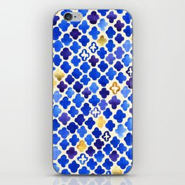 Rustic Watercolor Moroccan in Royal Blue & Gold iPhone Skin