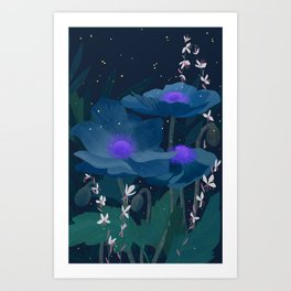 Blu Night poppies Art Print