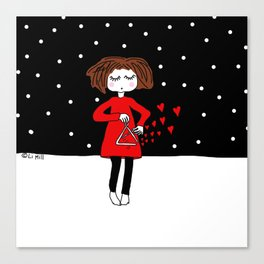 She just keeps spreading love.. Canvas Print