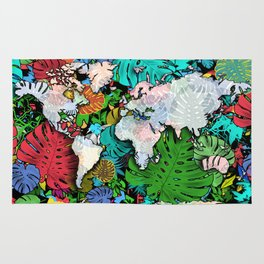 world map tropical leaves 3 Rug
