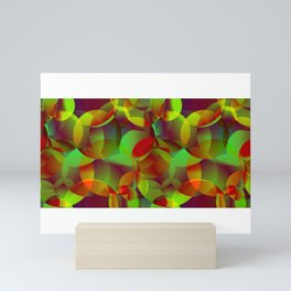 Vector abstract seamless background from space yellow and green bright circles and bubbles for fabri Mini Art Print