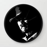 clint barton Wall Clocks featuring CLINT by DRMdesign