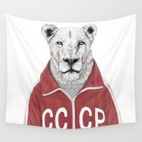 soviet Wall Tapestries featuring Soviet lion by Balazs Solti