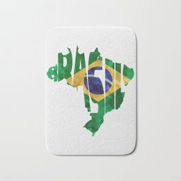 Brasil Typographic World Map / Brasil Typography Flag Map Art Bath Mat