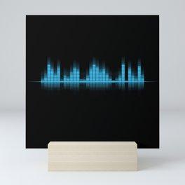 Cool Blue Graphic Equalizer Music on black Mini Art Print
