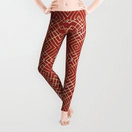 Modern Chinese Red Art Deco Geometric Pattern Leggings