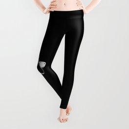 Tap shoes - white line on black background  Leggings