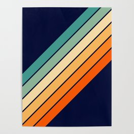 Farida - 70s Vintage Style Retro Stripes Poster