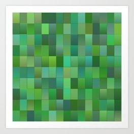 Green Mosaic Tile Pattern Art Print