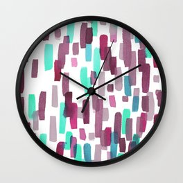 Burgundy and Teal Abstract Watercolor Wall Clock