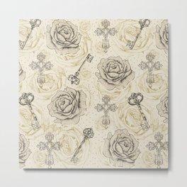 Roses & keys Metal Print
