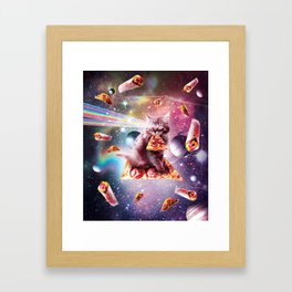Outer Space Pizza Cat - Rainbow Laser, Taco, Burrito Framed Art Print