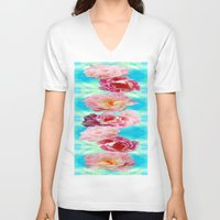peonies V-neck T-shirts featuring PEONIES  by AlyZen Moonshadow