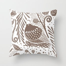California Quail (Cocoa) Throw Pillow