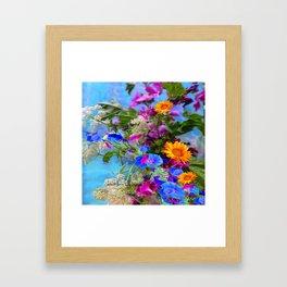 BLUE FLOWERS QUEEN ANN'S LACE BLUE STILL LIFE Framed Art Print