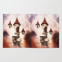 castle in the sky Area & Throw Rugs featuring Castle in the Sky by Heidy Curbelo