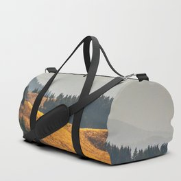 Parallax Landscape Rolling Hills Photo Nature In Morning Sunlight Duffle Bag