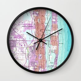 Vintage Map of Palm Beach Florida (1946) Wall Clock